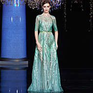 Formal Evening Dress A-line Bateau Floor-length Tulle / Charmeuse / Sequined with Sash / Ribbon / Sequins