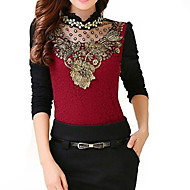 Women's Solid Red / Black Blouse,Stand Long Sleeve