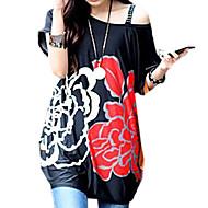 Kvinnors Sommar klänningar Korean Flower Printed Loose T-shirt