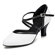 Non Customizable Women's Dance Shoes Flocking Flocking Salsa Sandals / Heels Cuban Heel Beginner / Indoor White