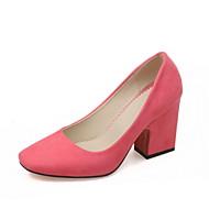 Calçados Femininos - Saltos - Saltos - Salto Grosso - Azul / Verde / Rosa / Cinza / Bege / Laranja - Courino -Ar-Livre / Escritório &