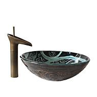 Antiquado T1.2×Φ42×H14.5cm(T0.47×Φ16.54×H5.71 inch) Redondo material dissipador é Vidro TemperadoPia de Banheiro / Torneira de Banheiro /