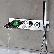 Grifo de ducha / Grifodebañera / Baño grifo del fregadero - Contemporáneo - LED / Cascada / Espray de Desmontable - Latón ( Cromo )