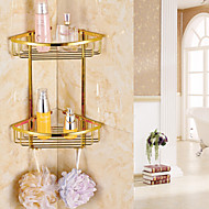 Gold Finish Bathroom Double-deck Brass Material Triangular Storage Basket