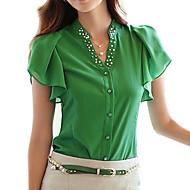 여성의 솔리드 V 넥 짧은 소매 블라우스,심플 신사화 블루 / 화이트 / 그린 폴리에스테르 봄 / 여름 / 가을 얇음