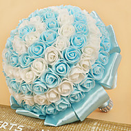 Double Color Rose Flower Wedding Bouquet for The Bride Holding Flowers (21*26cm)Assorted Color
