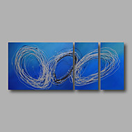 "Ready to Hang Hand-Painted Oil Painting Canvas Three Panels 56""x24"" Wall Art Modern Abstract Light Blue"