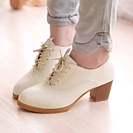 Women's Spring / Summer / Fall / Winter Heels Leatherette Office & Career / Dress / Casual Chunky Heel Lace-up Black / White