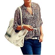 3/4 ærmelængde V-hals Tynd Dame Leopard Alle årstider Sexet Vintage Skjorte,Polyester