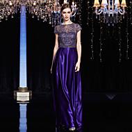 Formal Evening Dress Sheath / Column Jewel Floor-length Lace / Satin / Charmeuse with Lace / Sash / Ribbon
