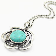 Vintage Look Antique Silver Flower Turquoise Stone Small Necklace Pendant(1PC)