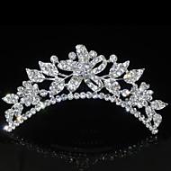 Fashion Flowers Rhinestones Alloy Platinum Plating Crown Tiaras Inserting Comb for Women