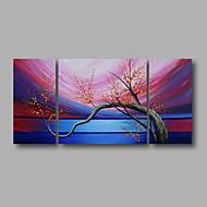 Handgeschilderde Abstract / Bloemenmotief/BotanischModern Drie panelen Canvas Hang-geschilderd olieverfschilderij For Huisdecoratie