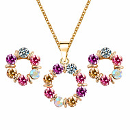 Multi-Colored Round Circle Shape Design Fine Jewelry Pendant Necklace Earrings Jewelry Set