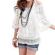 vrouwen kant borduurwerk witte blouse, een schouder vleermuis mouw tweedelige