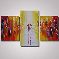 מצויר ביד מופשט / L ו-scape / אנשים / נוף אבסטרקט / ציור אבסטרקטמודרני שלושה פנלים בד ציור שמן צבוע-Hang For קישוט הבית