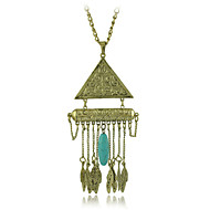 Ethnic Jewelry New Necklaces & Pendants Vintage Silver Plated Geometry Leaves Tassel Long Necklace