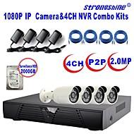 strongshine®ip kamera med 1080p / infraröda / vattentät och 4-kanals H.264 NVR / 2TB övervakning hdd combo kit