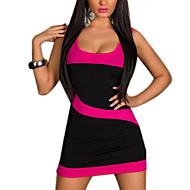 여성의 섹시 / 파티 플러스 사이즈 드레스 컬러 블럭 미니 딥 U 면 / 스판덱스