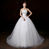 Ball Gown Wedding Dress - White Court Train Strapless Lace / Tulle