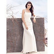 Lanting Bride Sheath/Column Wedding Dress-Sweep/Brush Train Square Satin