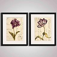 Abstrait / Paysage / A fleurs/Botanique / Nature morte Art Imprimé encadré / Toile Encadrée / Set de Cadres Wall Art,PVC NoirPassepartout