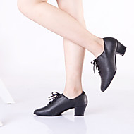 Non Customizable Women's Dance Shoes Latin / Dance Sneakers Leather Chunky Heel Black