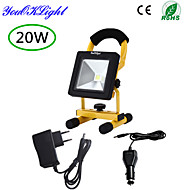 YouOKLight® 1PCS IP65 20W 1700lm 6000K White LED Flood Light Rechargeable - Black + yellow (AC85~265V )