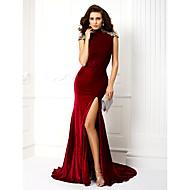 TS Couture® Formal Evening Dress - Burgundy Plus Sizes / Petite Trumpet/Mermaid High Neck Sweep/Brush Train Velvet