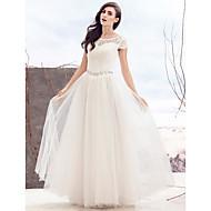 A-라인 웨딩 드레스 바닥 길이 스쿱 레이스 와 비즈
