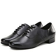 Latin Men's Dance Shoes Heels Breathable Leather Low Heel Black