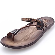 Men's Shoes Outdoor / Office & Career / Work & Duty / Athletic / Dress / Casual Nappa Leather Flip-Flops Black / Brown
