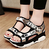 Women's Summer Creepers Leatherette Casual Platform Buckle Black / White / Silver
