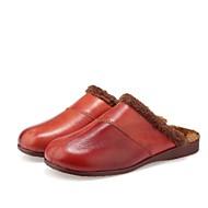 Pantofle-Kůže-Pantofle-Dámská obuv-Hnědá / Červená-Běžné-Plochá podrážka