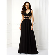 TS Couture® Formal Evening Dress - Black Plus Sizes / Petite Sheath/Column V-neck Floor-length Chiffon