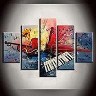 Hånd-malede Abstrakt / Landskab / Fantasi / Abstrakt LandskabEuropæisk Stil Fem Paneler Canvas Hang-Painted Oliemaleri For Hjem Dekoration