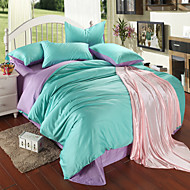 Light purple and  green 100% Tencel Soft Bedding Sets Queen King Size Solid color Duvet Cover Set