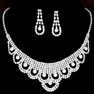 Women's Fashion Shiny Rhinestone Bridal Sets Bridal Accessories Necklace Earrings Set Wedding Party Gift
