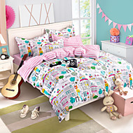 cama cidade de impressão definida queen size lençol + capa edredom + fronha 4pcs roupas de cama de algodão