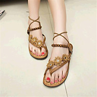 Women's Shoes Leatherette Flat Heel Comfort Sandals Casual Brown / White