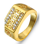 Retro Men Jewelry Great Wall Pattern Hollow Engraving Copper Men's Rings with DiamondsImitation Diamond Birthstone