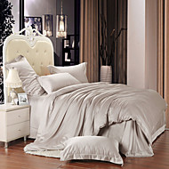 Silver gray 100% Tencel Soft Bedding Sets Queen King Size Solid color Duvet Cover Set