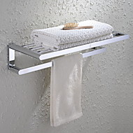 HPB®,Towel Bar / Bathroom Shelf Chrome Wall Mounted 60*23*13cm(23.6*9*5.1 inch) Brass Contemporary