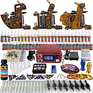solong tetování úplný začátečník tetování kit 3 Pro stroje s 54 inkousty napájení jehla úchytky tipy tkc03