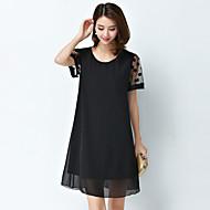여성의 심플 / 스트리트 쉬크 플러스 사이즈 / 쉬폰 드레스 도트무늬 무릎 위 라운드 넥 면 / 폴리에스테르