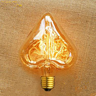 formato de coração fio reto 40 w e27 220 v lâmpada edison