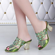 Women's Shoes Leather Chunky Heel Heels Sandals Party & Evening / Dress / Casual Blue / Green