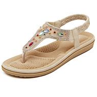 Sandály - Koženka - S páskem / Otevřená špička - Dámská obuv - Bílá / Mandlová - Běžné - Plochá podrážka