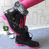 Women's Shoes  Latex Chunky Heel Rain Boots  Waterproof  Rubber Shoes (Including Cotton Padded Covering)