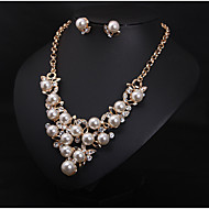 Women's European Style Luxury Fashion Imitation Pearl Rhinestone Wedding Banquet Bridal Gift  Necklace Earring Set